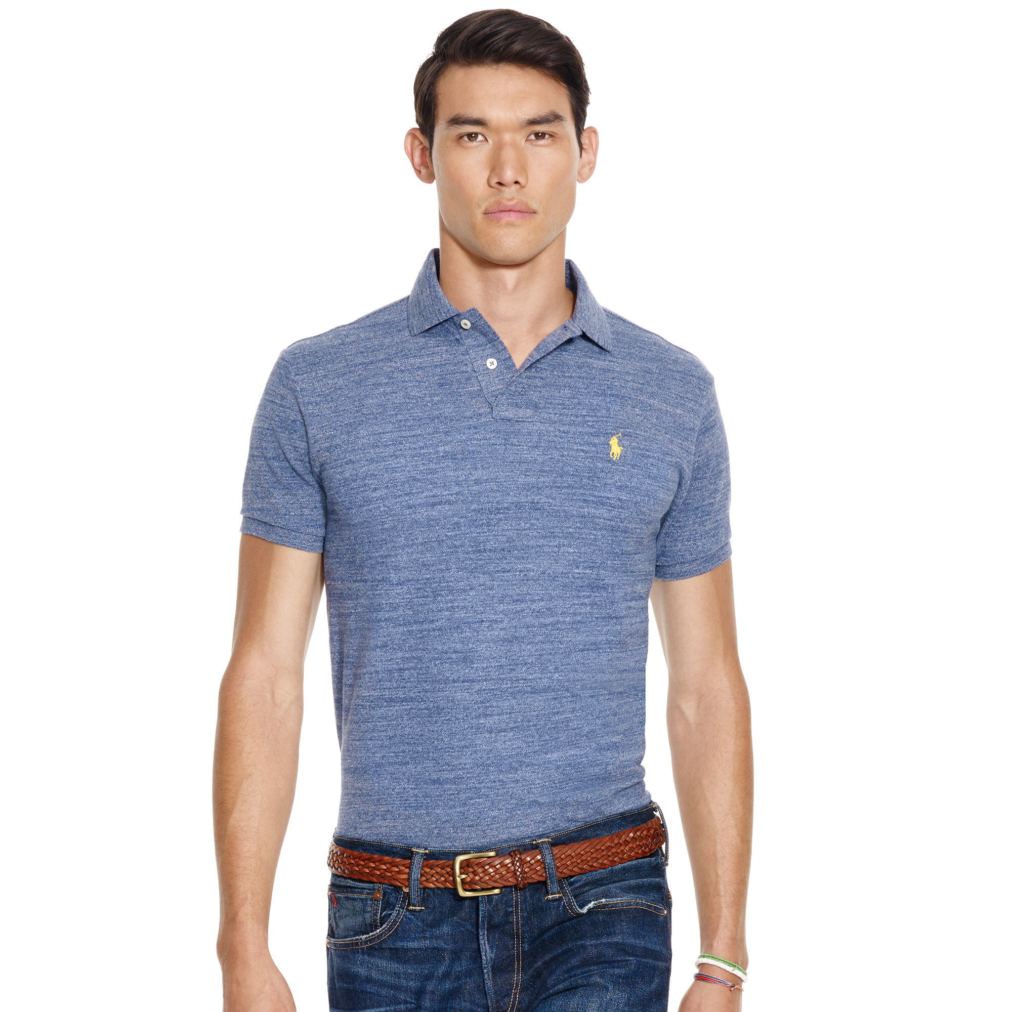 polo ralph lauren custom fit mesh polo shirt for men lyst