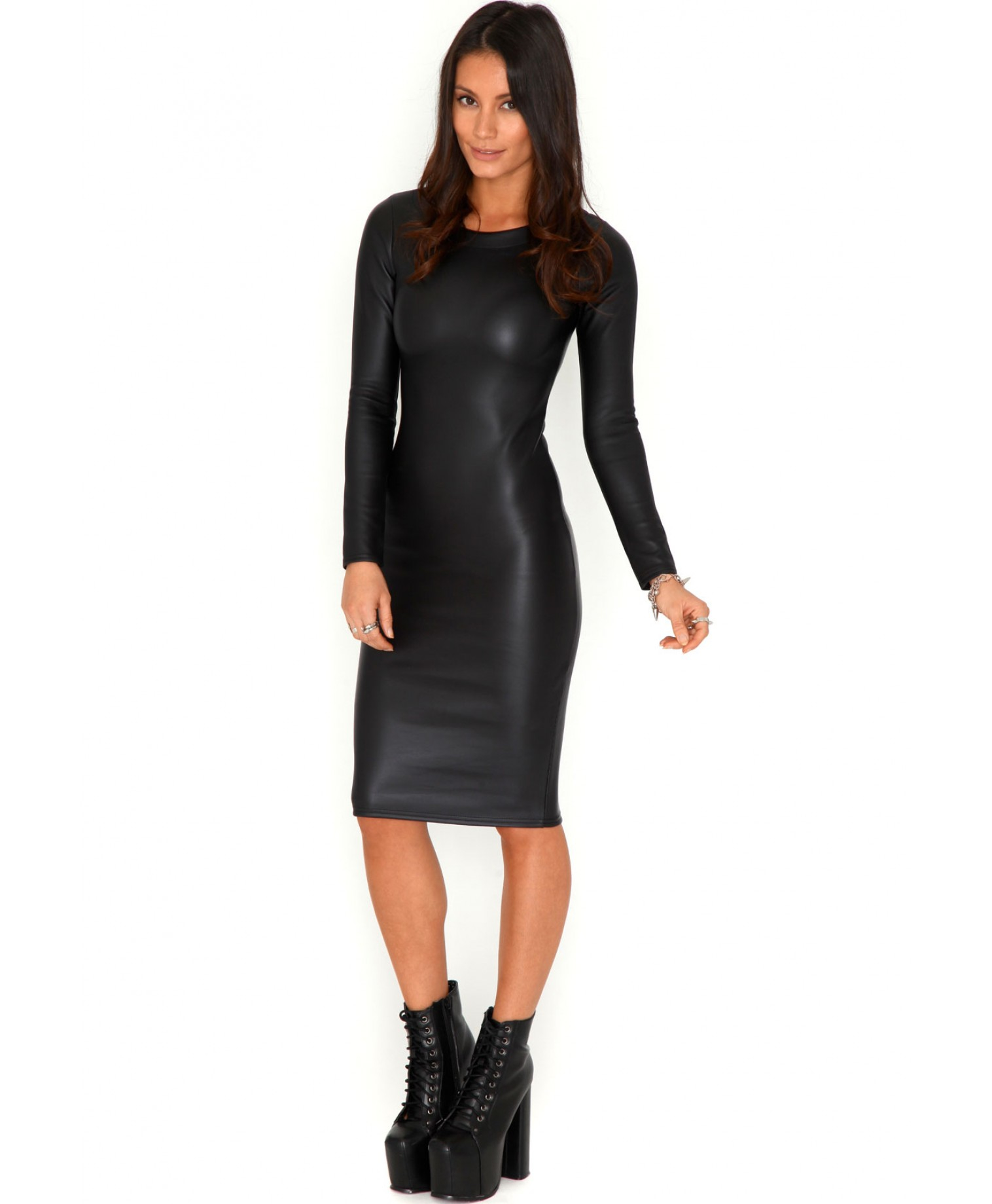 Lyst Missguided Glynna Wet Look Long Sleeve Midi Dress