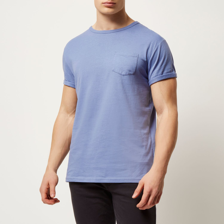 decdacd2c Lyst - River Island Blue Plain Chest Pocket T-shirt in Blue for Men