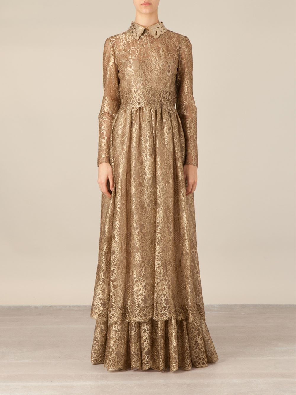 Lyst - Valentino Lace Gown in Metallic