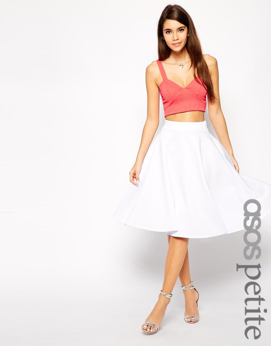 Asos Exclusive Scuba Midi Skirt in White | Lyst
