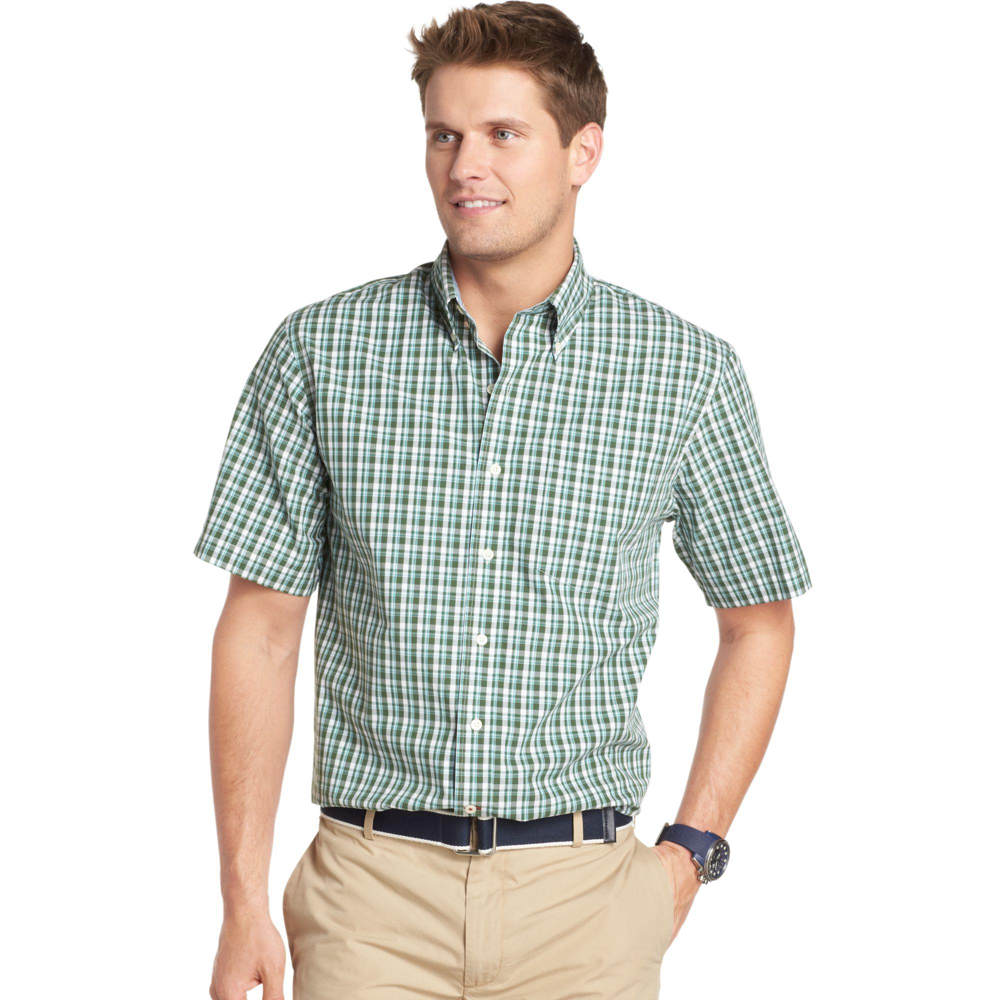 Izod big and tall short sleeve saltwater poplin plaid for Izod big and tall shirts
