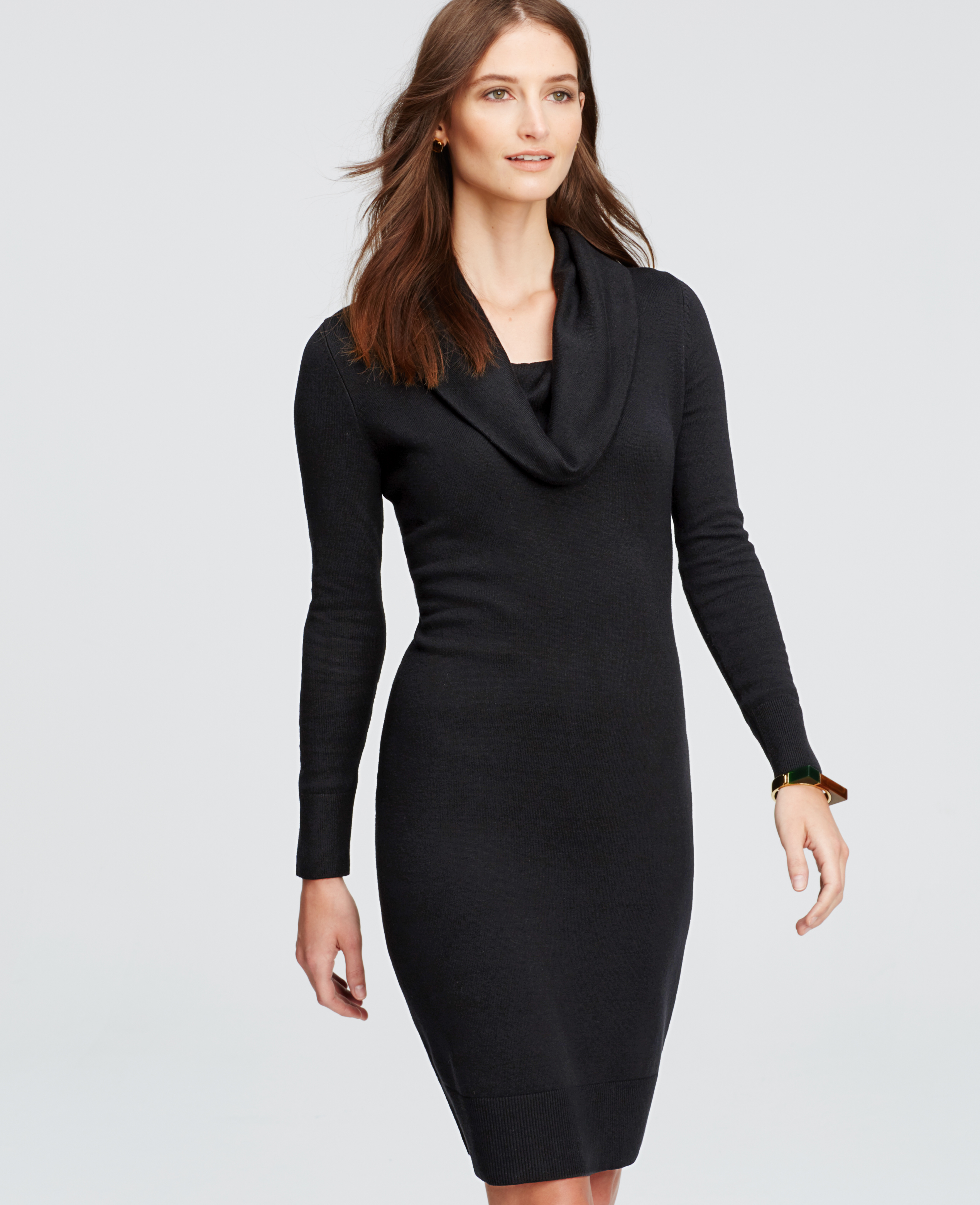 Ann taylor Tall Cowl Neck Sweater Dress in Black | Lyst