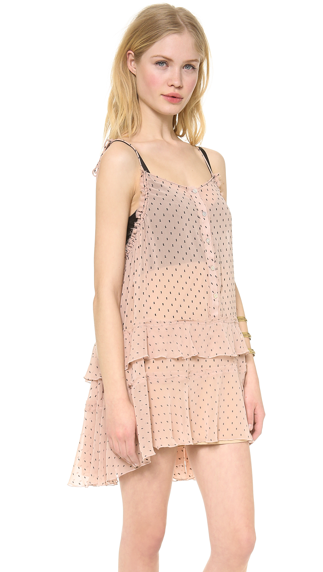 Lyst - Free People Relaxed Tired Ruffle Dress In Pink-1796