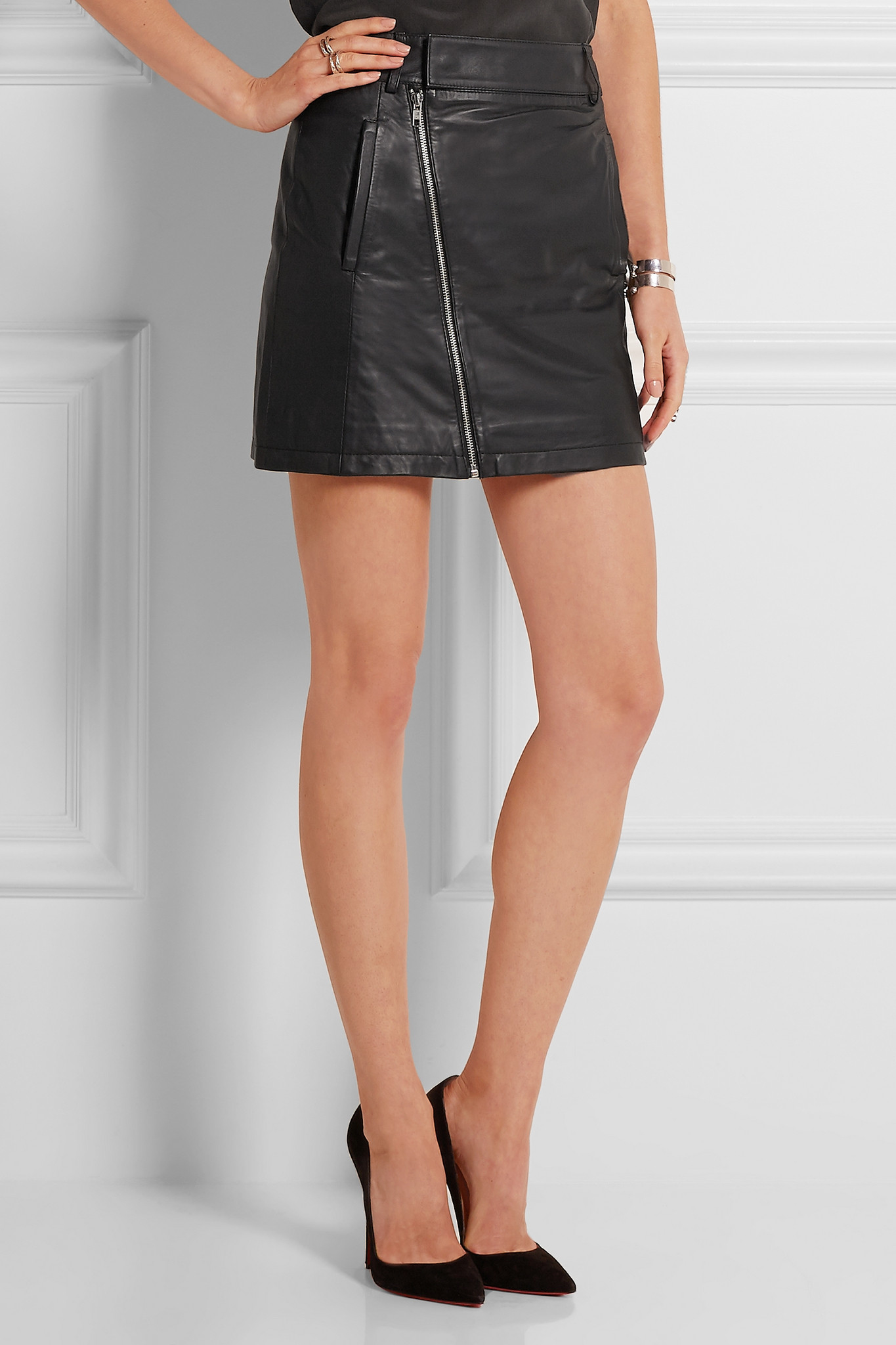 53b06afca8 Dion Lee Leather Mini Skirt in Black - Lyst