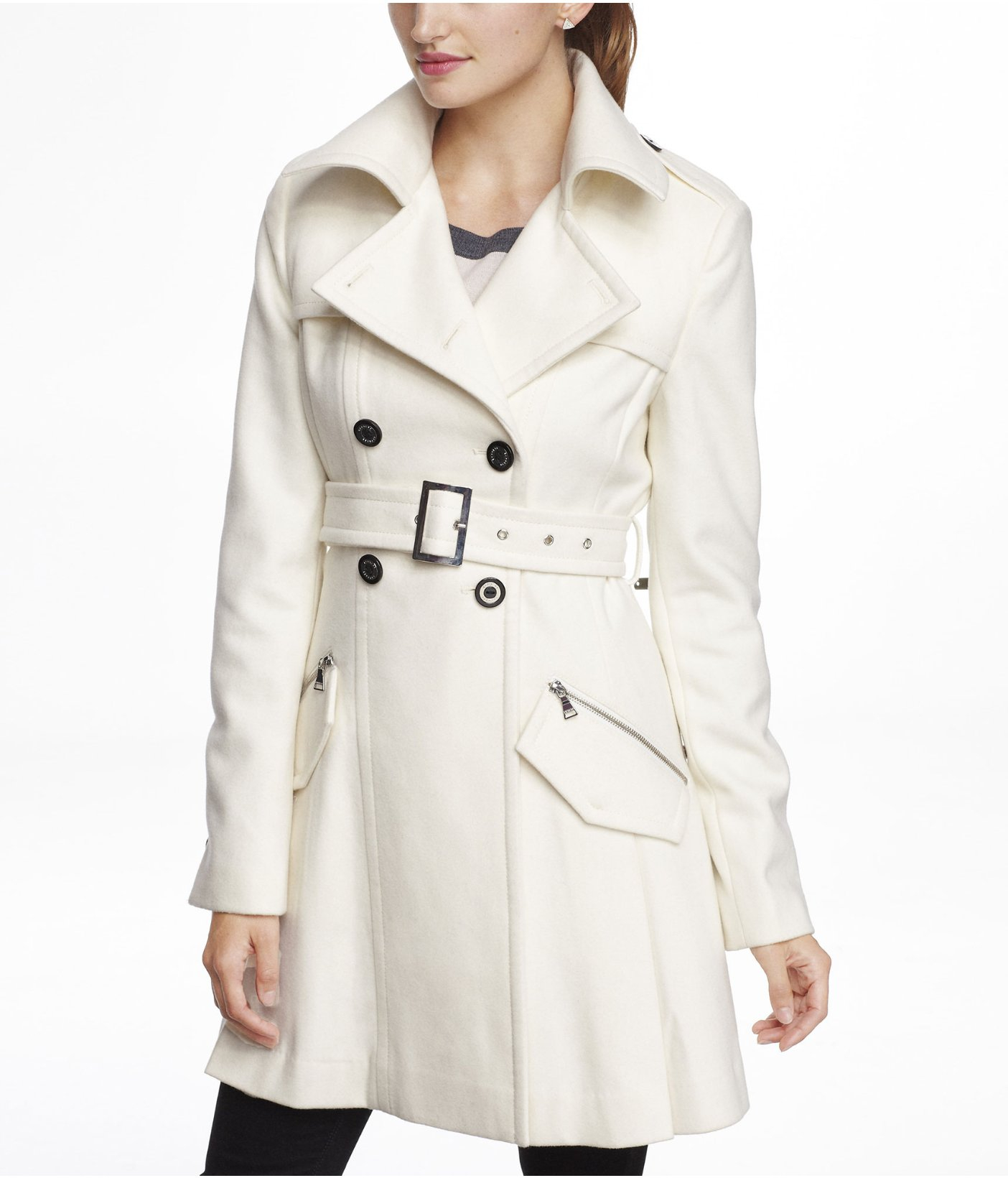 Express Wool Blend Fit and Flare Trench Coat in Natural | Lyst