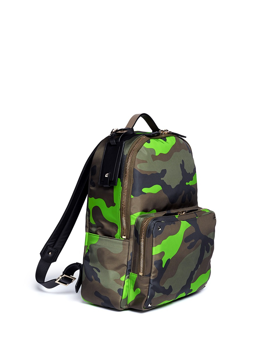 Lyst Valentino Fluo Camouflage Print Backpack In Green