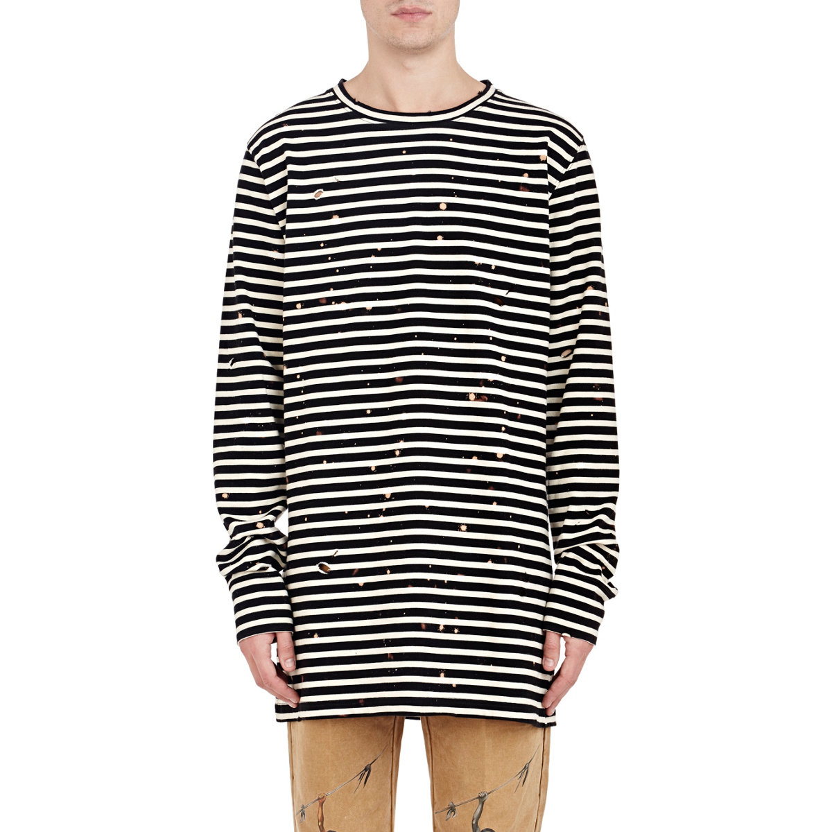 d36c3885220c Lyst - Off-White c o Virgil Abloh Distressed Striped T-shirt in ...