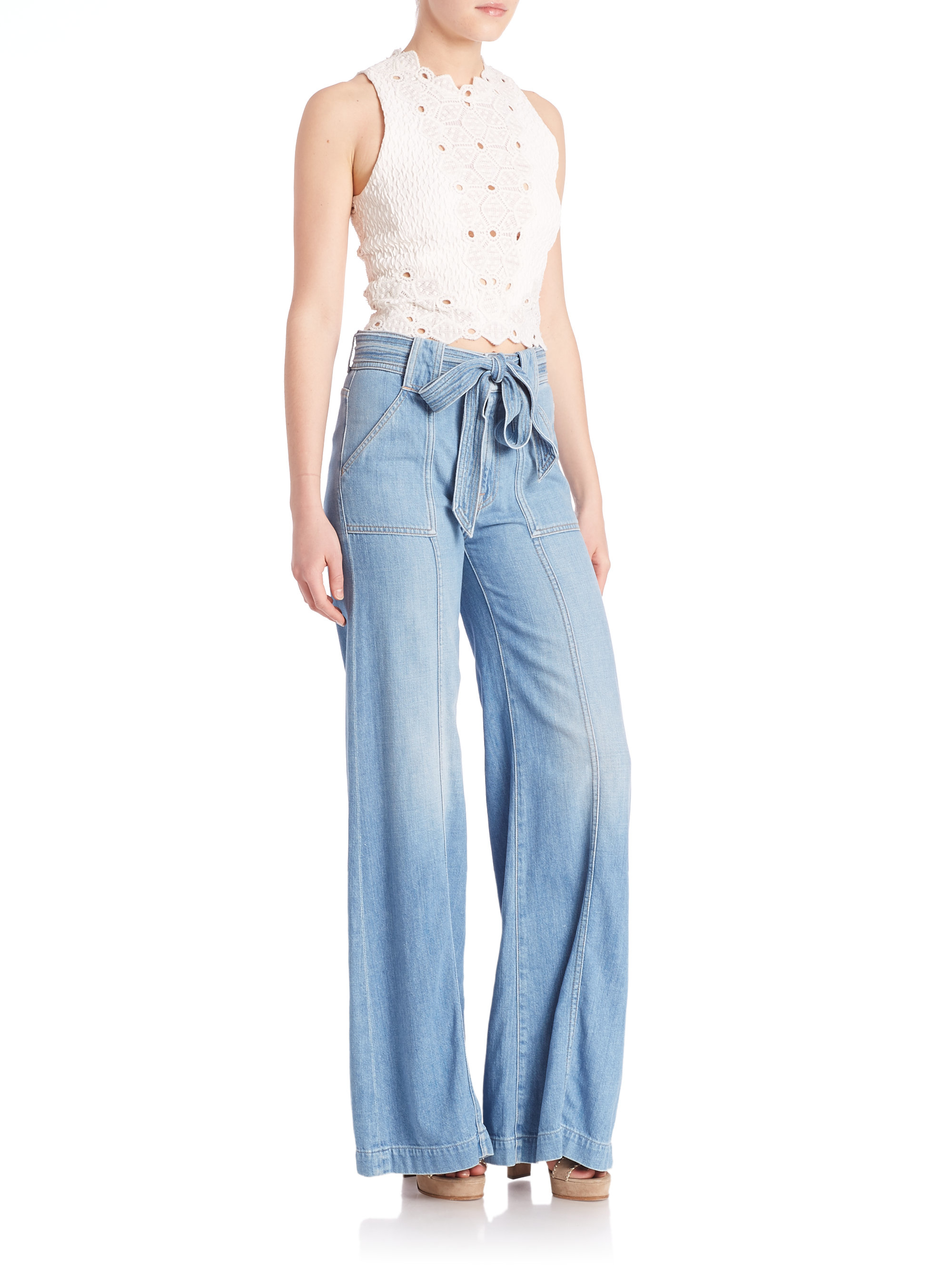 7 for all mankind belted palazzo jeans in gray lyst. Black Bedroom Furniture Sets. Home Design Ideas