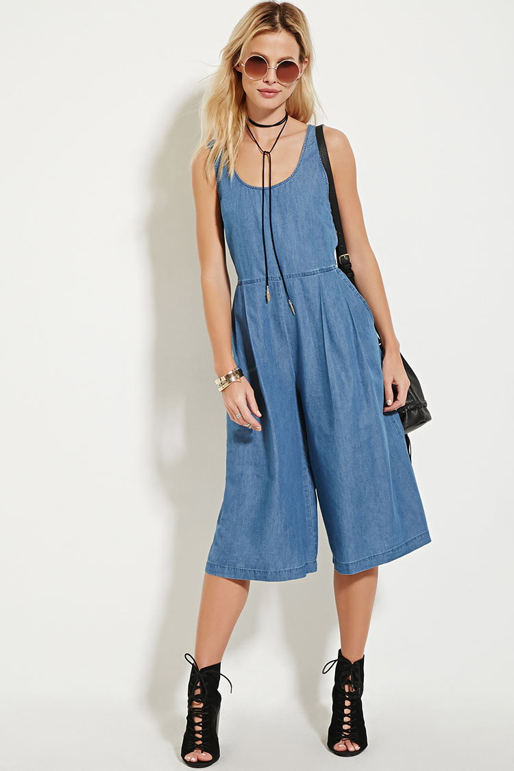 8e699a6d3df Forever 21 Chambray Culotte Jumpsuit in Blue - Lyst