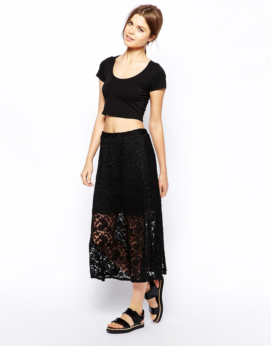 Asos Midi Skirt In Lace in Black | Lyst