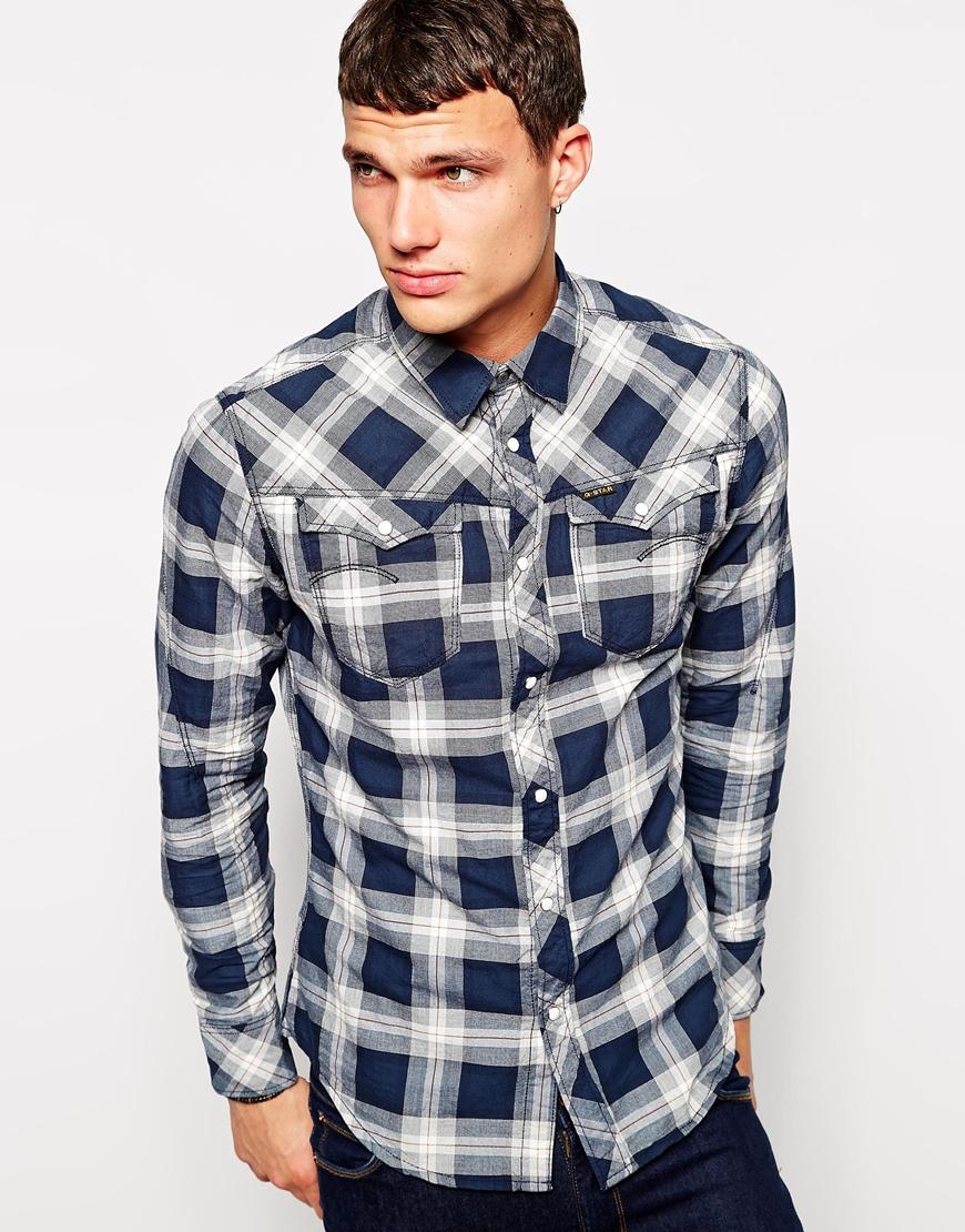 g star raw check classic fit long sleeve classic collar shir in white for men lyst. Black Bedroom Furniture Sets. Home Design Ideas