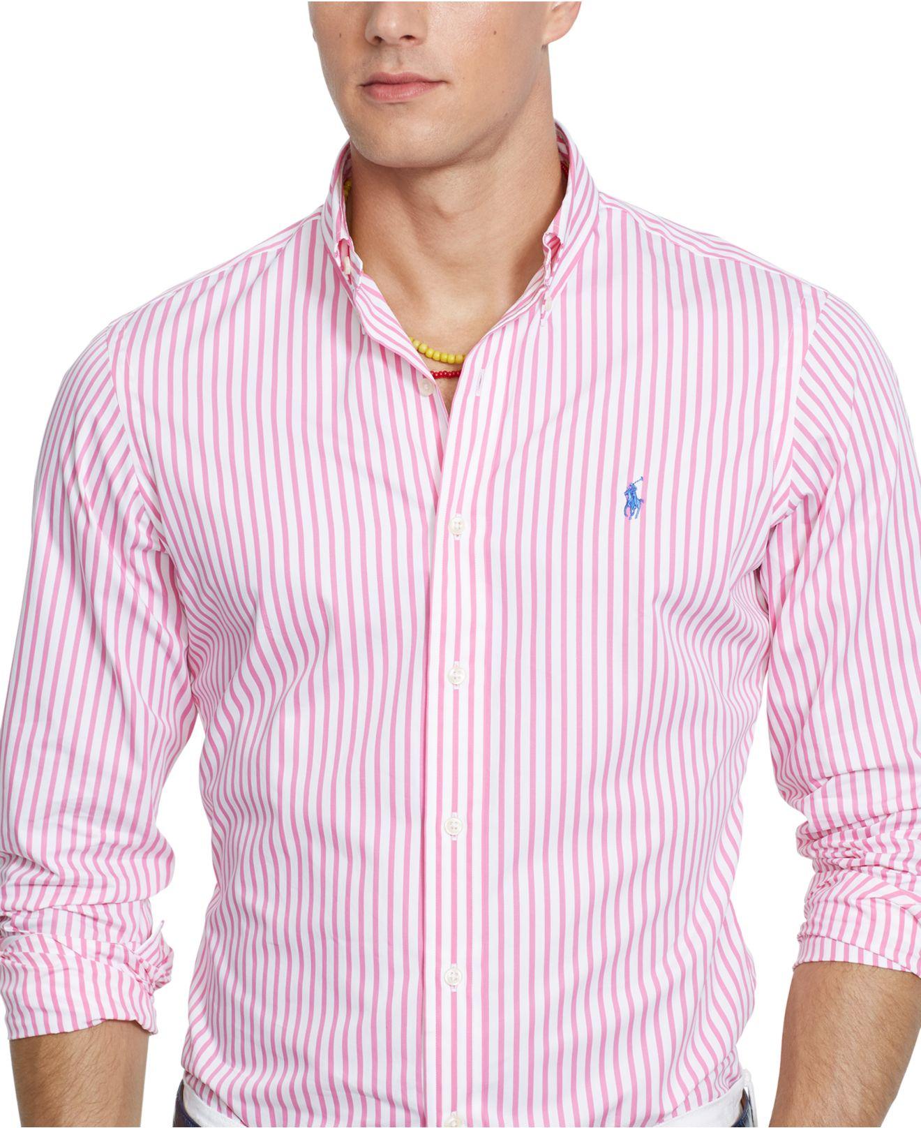 493c3f108 Polo Ralph Lauren Men s Long Sleeve Striped Poplin Shirt in Pink for ...