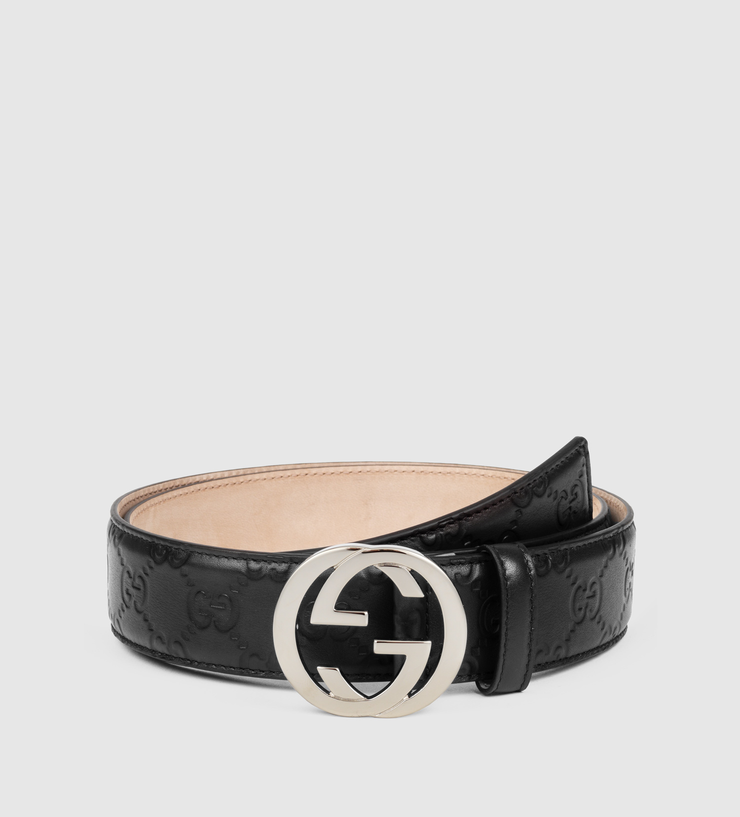 Lyst - Gucci Ssima Leather Belt With Interlocking G Buckle ...
