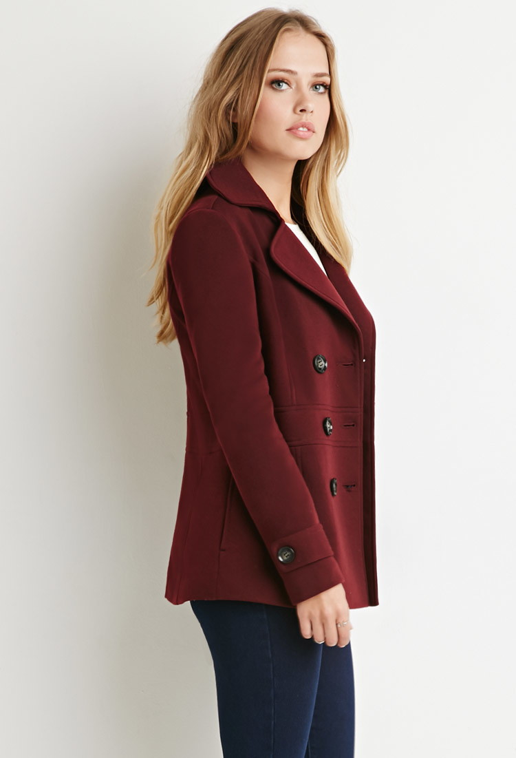 Forever 21 Double-breasted Pea Coat in Red | Lyst