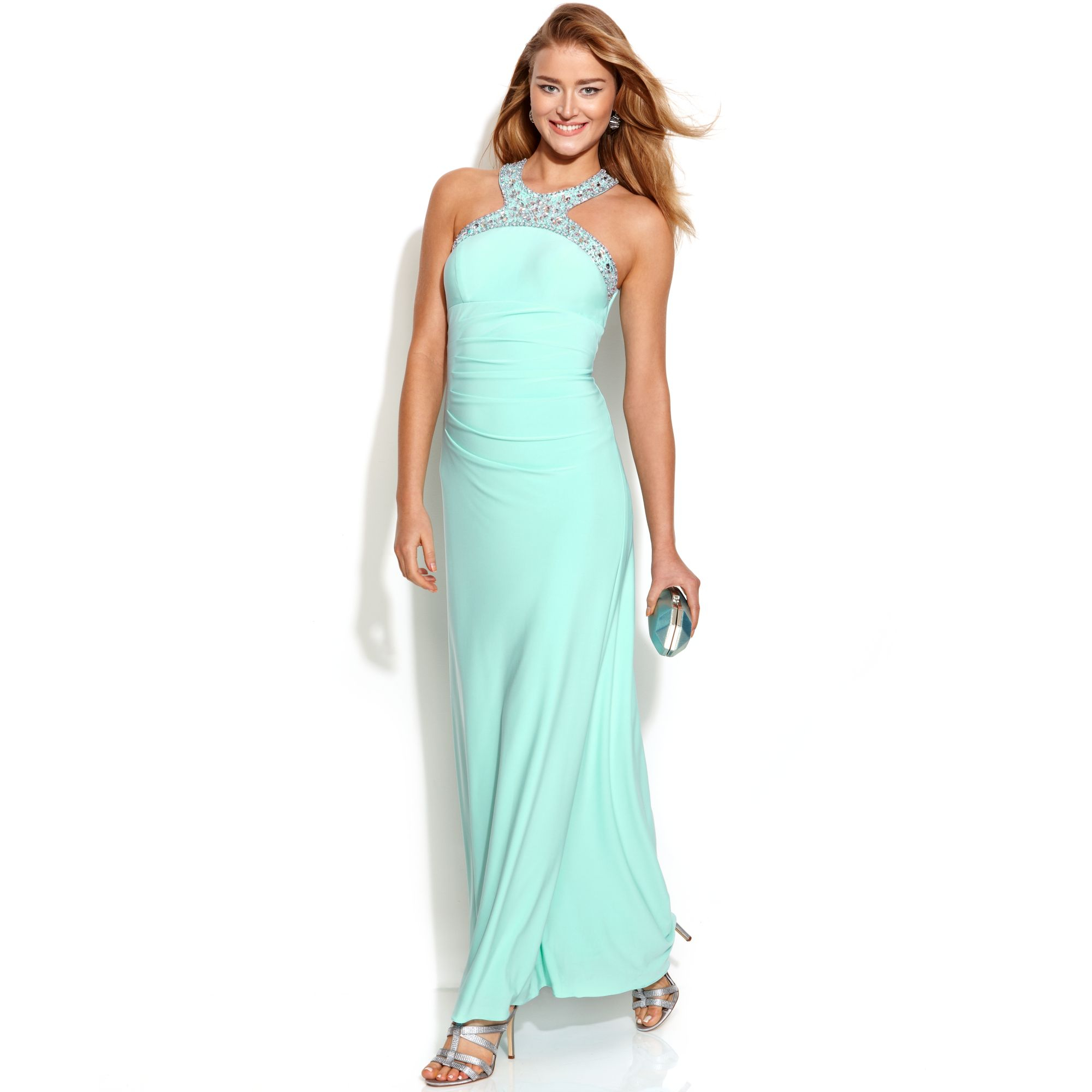 Lyst - Xscape Jeweltrim Ruched Halter Gown in Green