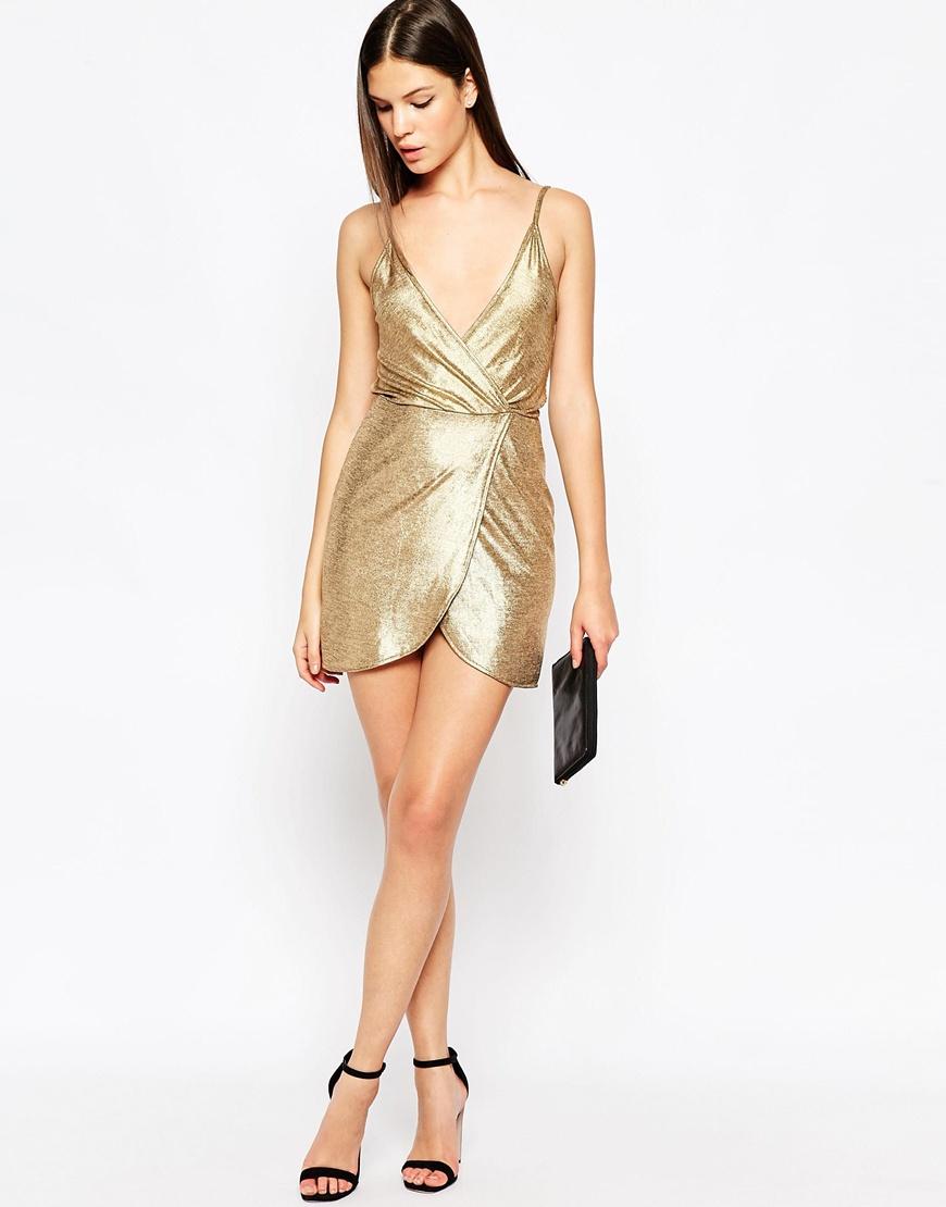 Oh my love Wrap Cami Dress In Metallic in Metallic | Lyst