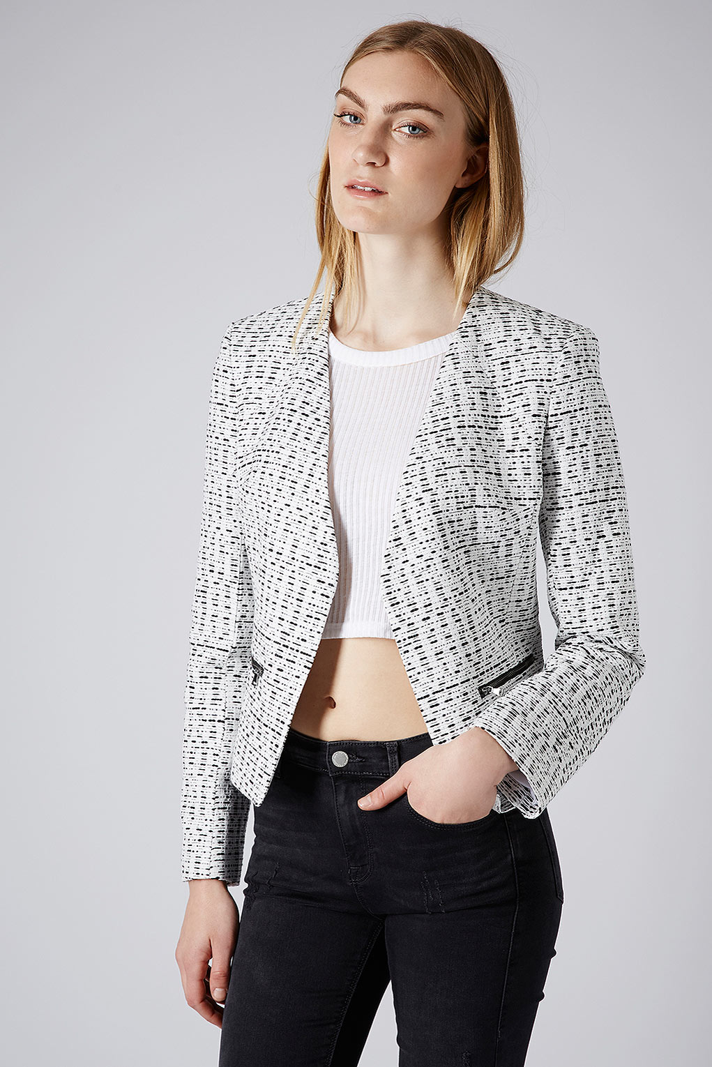 Topshop boucle zip blazer in gray monochrome lyst for Womens denim shirts topshop