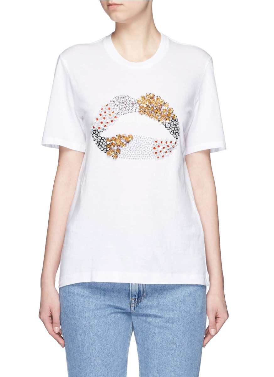 Lyst Markus Lupfer 39 Floral Lip 39 Embellished Alex T Shirt
