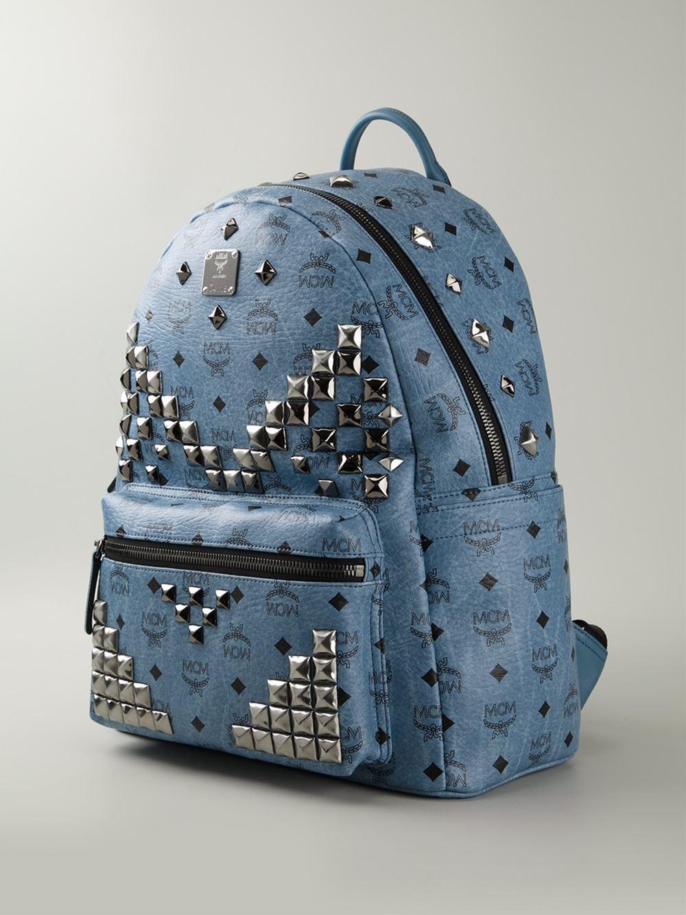 mcm 39 stark 39 backpack in blue lyst. Black Bedroom Furniture Sets. Home Design Ideas