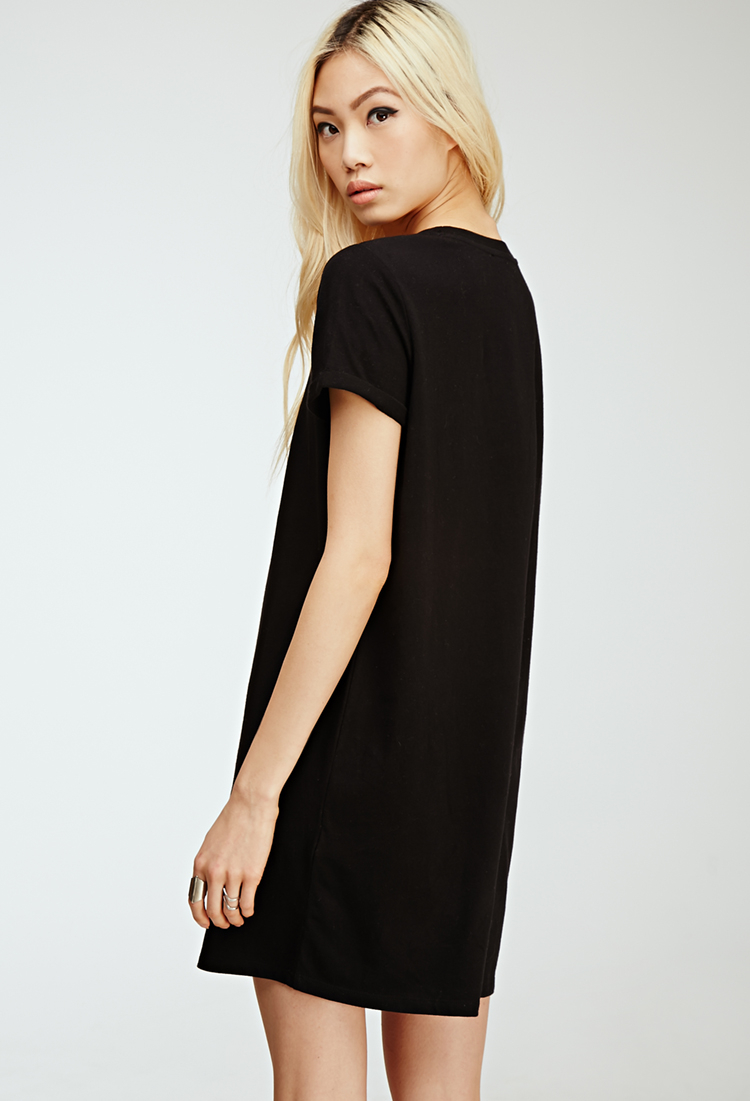 Lyst - Forever 21 Classic T-shirt Dress in Black