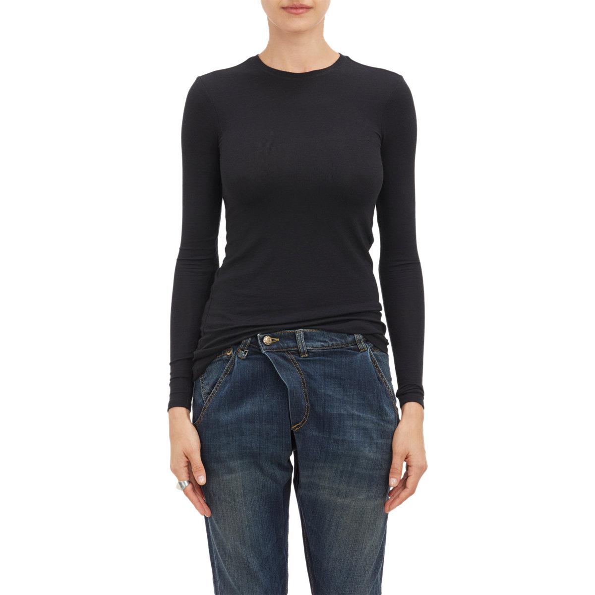 Atm rib knit long sleeve t shirt in black lyst for Ribbed long sleeve shirt