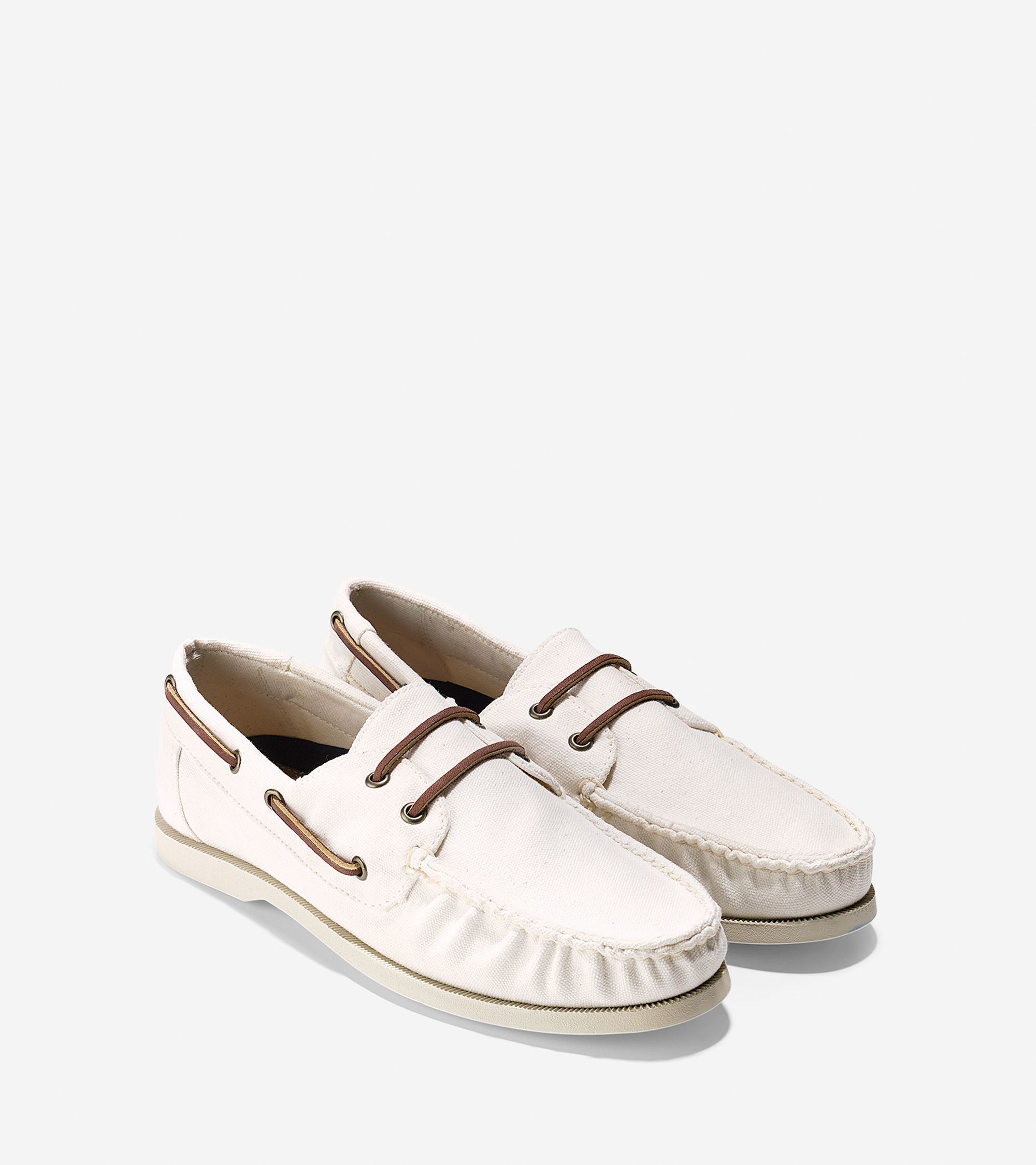 cole haan dominick boat shoe in white for lyst