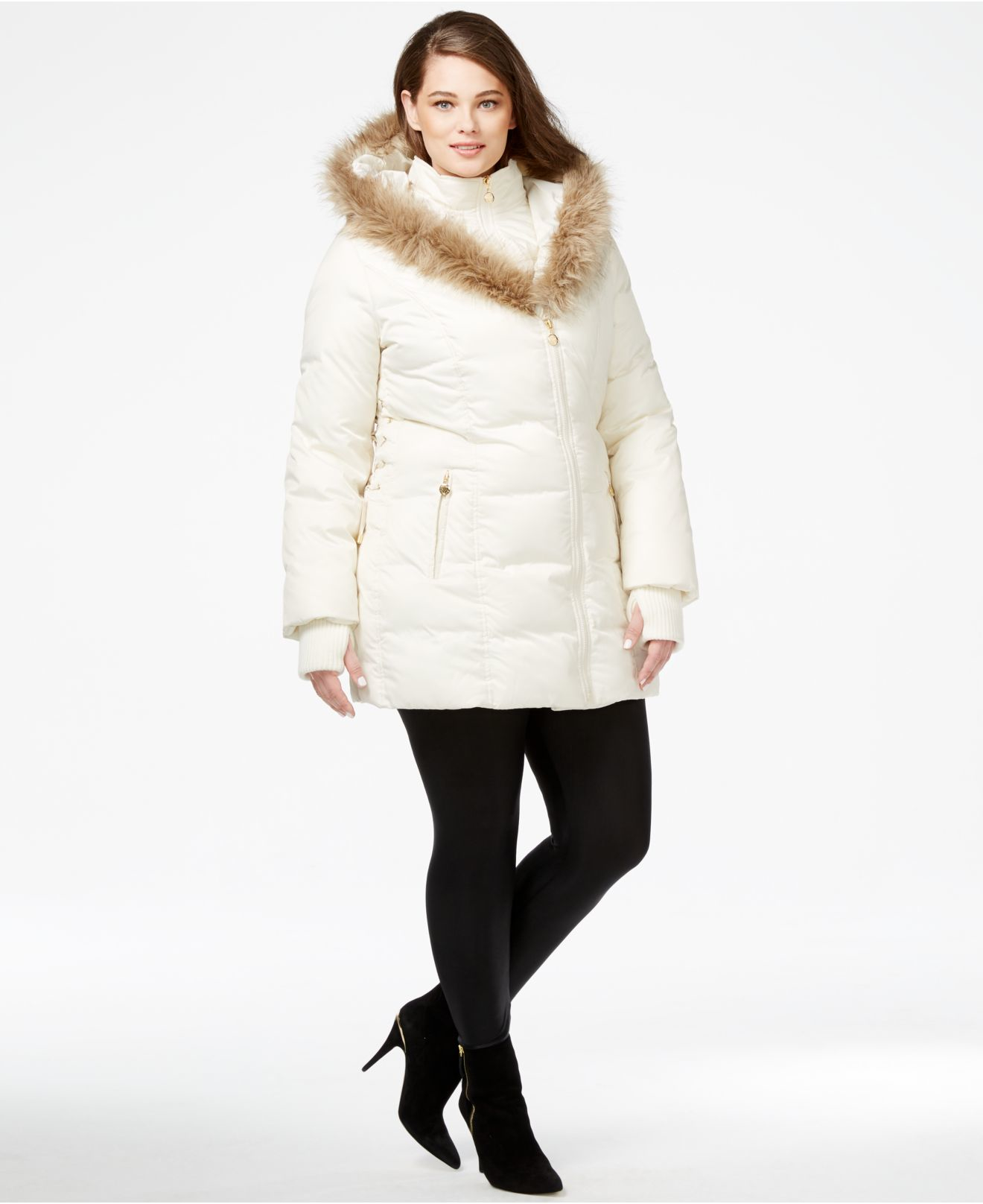 Betsey Johnson Plus Size Faux Fur Trim Quilted Puffer Coat