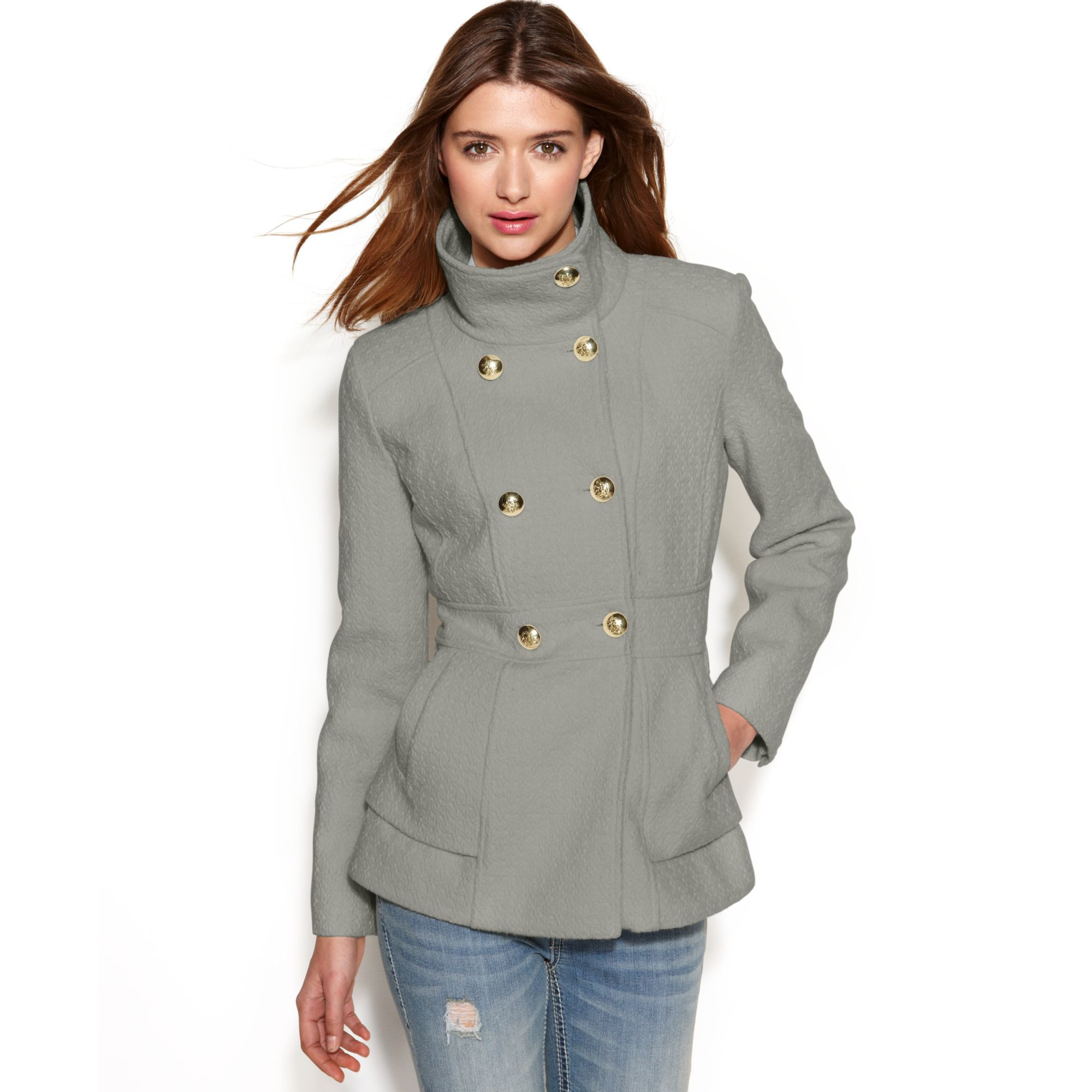 5e01147b3aa Lyst - Jessica Simpson Double-breasted Boucle Peacoat in Gray