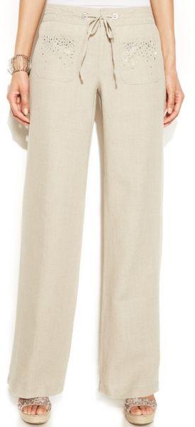 Luxury Stem NEW Beige Khaki Women39s Size Large L Drawstring Linen Pants