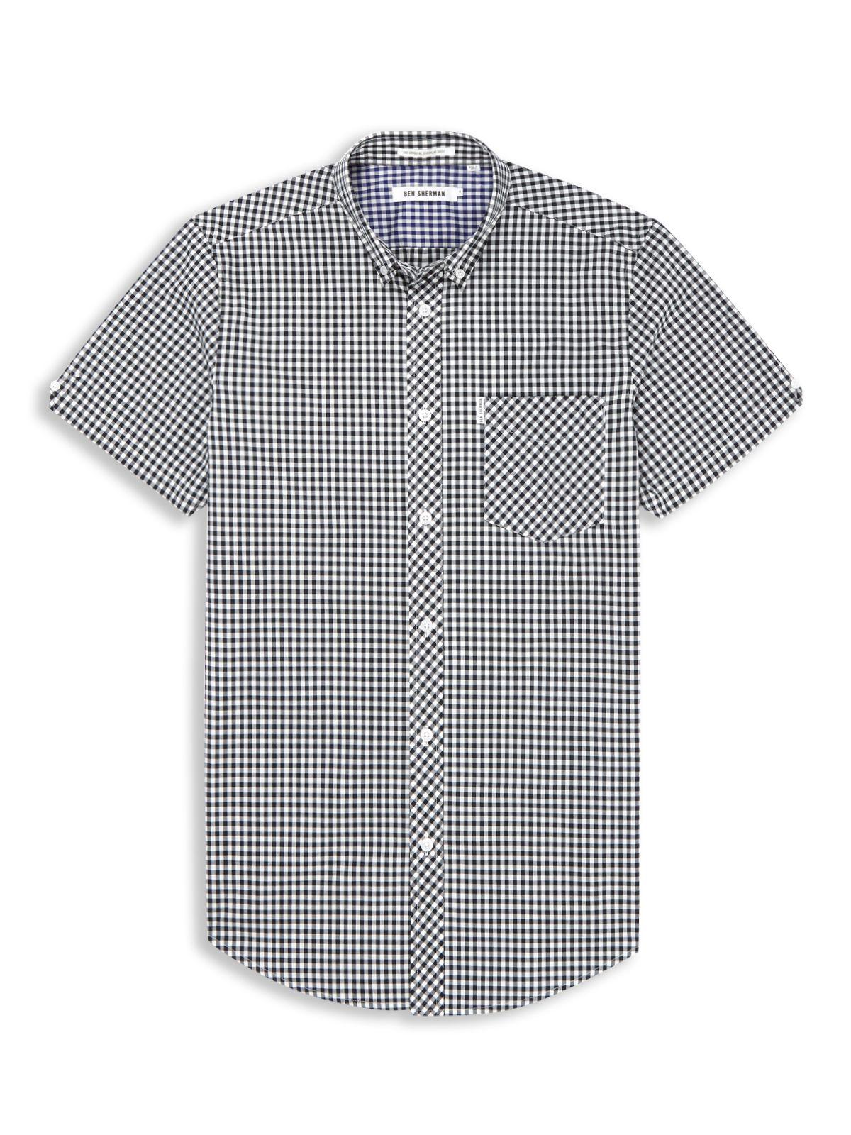 Lyst Ben Sherman Classic Gingham Check Shirt In Blue For Men