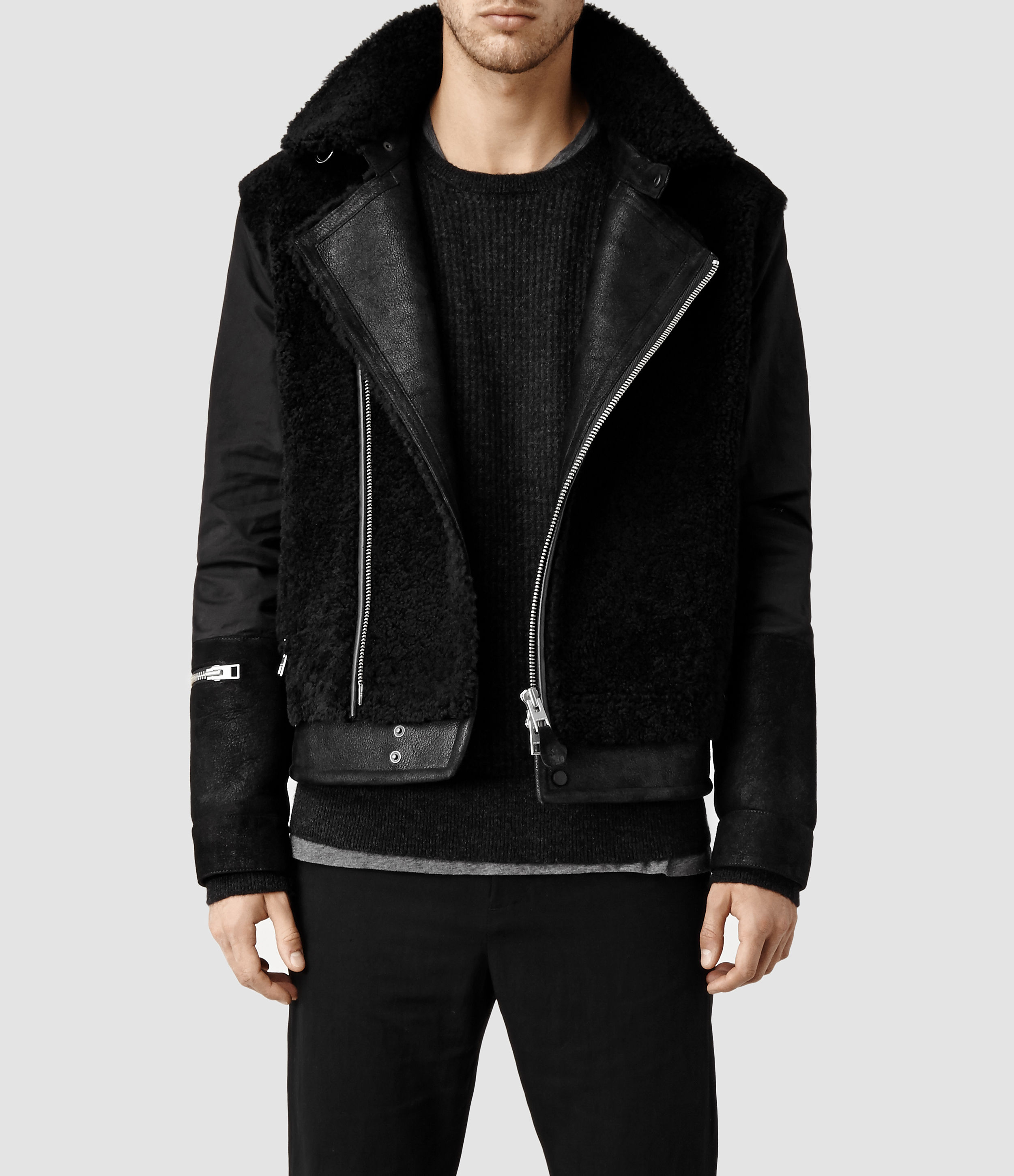 Allsaints Talbot Shearling Leather Coat in Black for Men | Lyst
