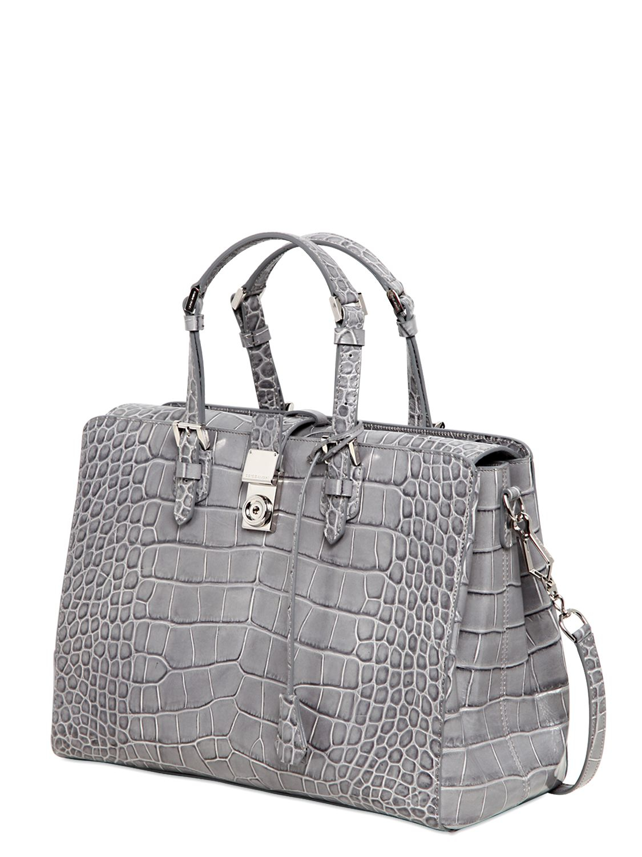 Lyst - Giorgio Armani Ginevra Printed Leather Top Handle Bag in Gray 1133ee20017de