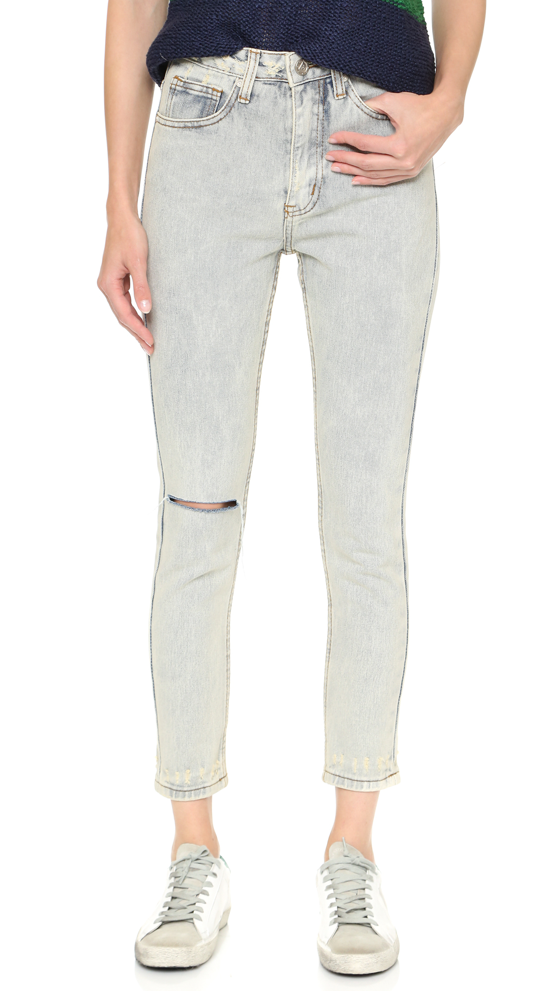 Lyst - Unif Bab High Rise Jeans - Black in Blue