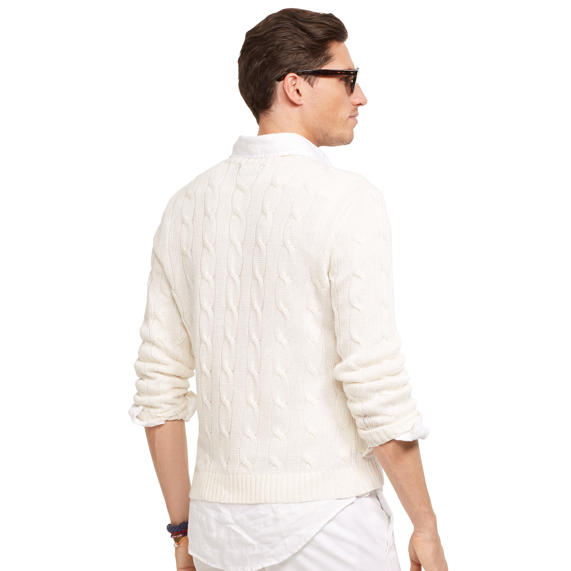 Lyst Polo Ralph Lauren Cable Knit Linen Sweater In White For Men