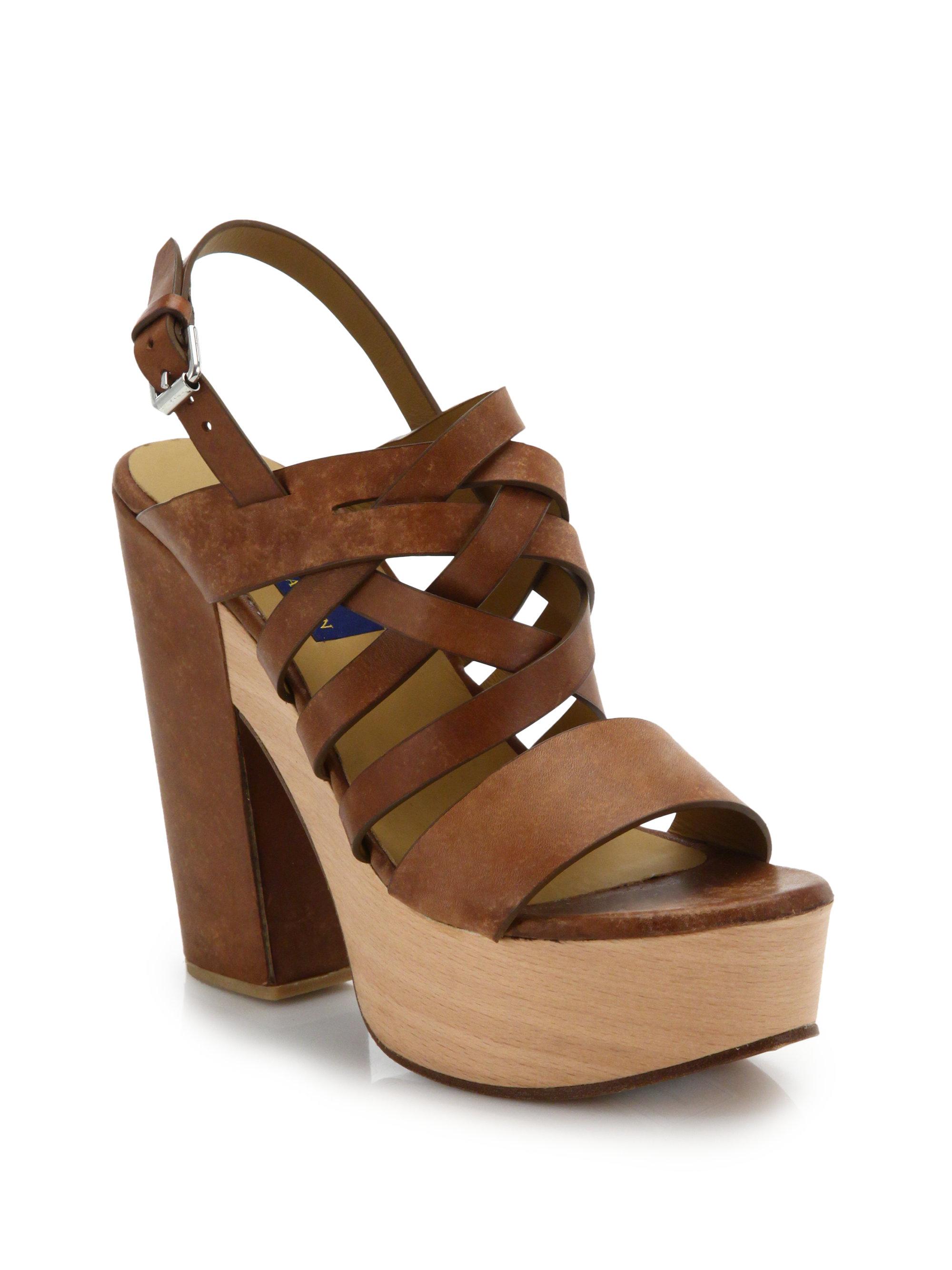 polo ralph wooden platform suede sandals in