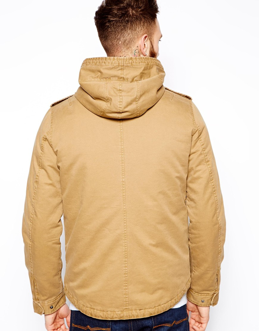 Asos Lightweight Parka Jacket in Natural for Men | Lyst