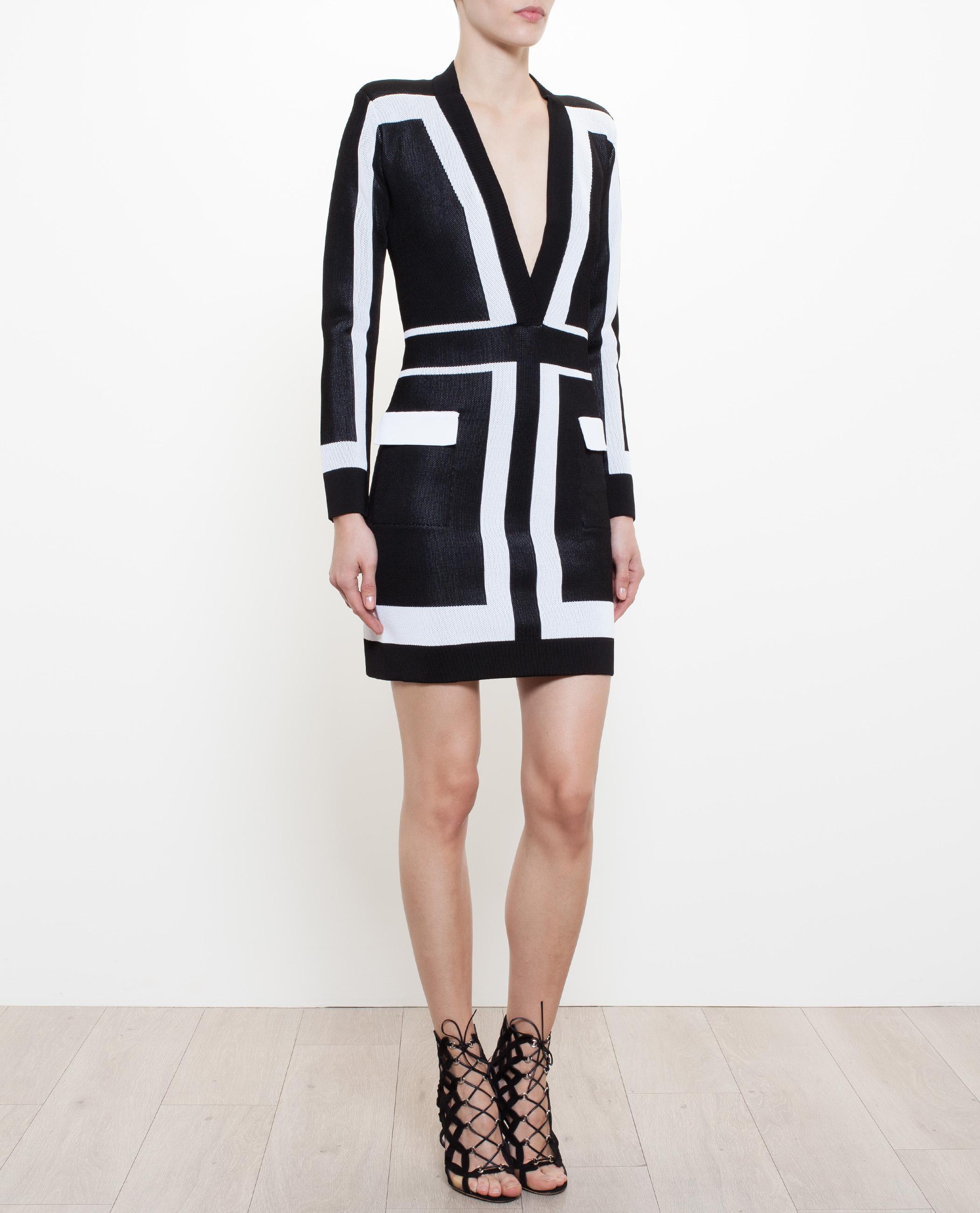 b0a2576018 Balmain Geometric Mesh Dress in Black - Lyst