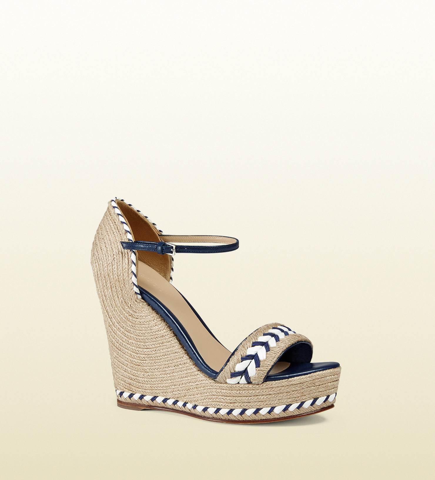 af3b39fd2370 Gucci Leather Sandal With Cord Wedge in Blue - Lyst