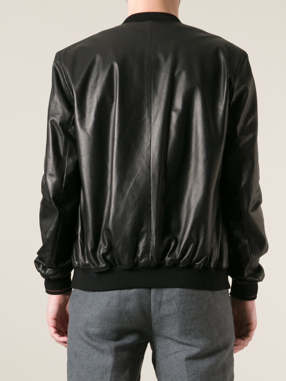 Gucci Leather Bomber Jacket in Black for Men   Lyst