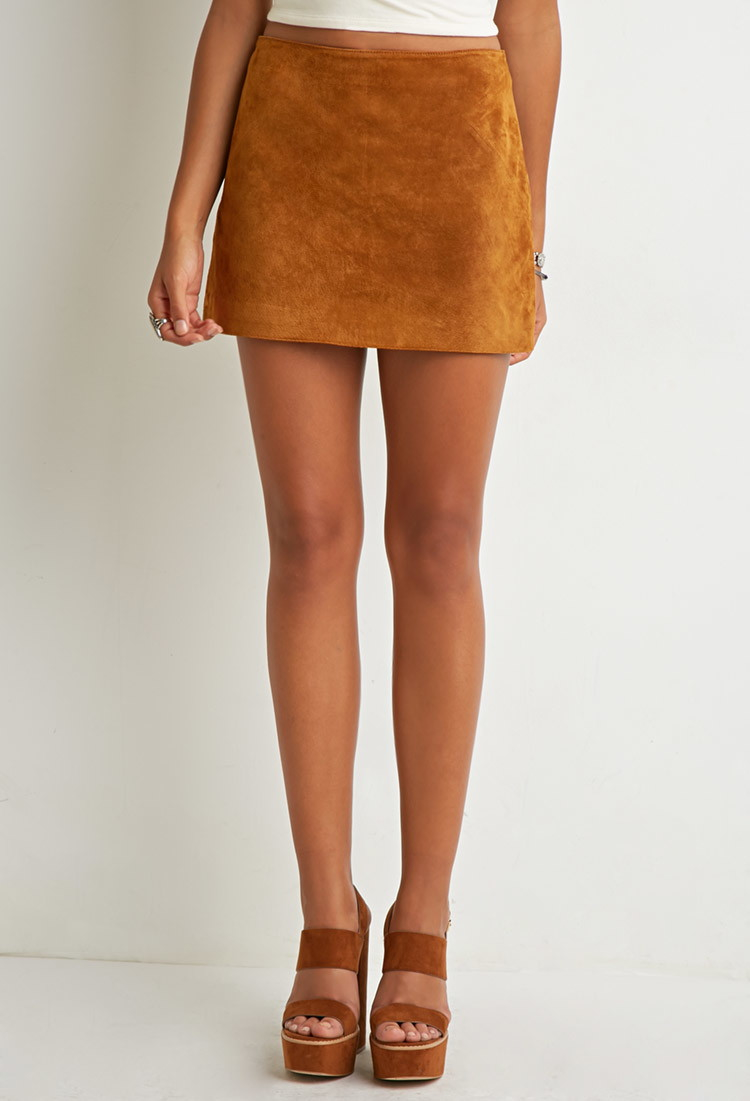 Forever 21 Genuine Suede Mini Skirt in Brown | Lyst