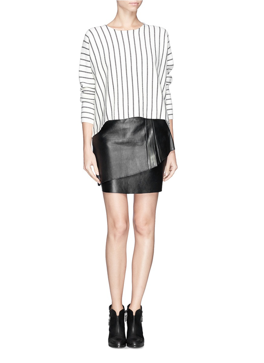 maje pleat layer leather skirt in black lyst