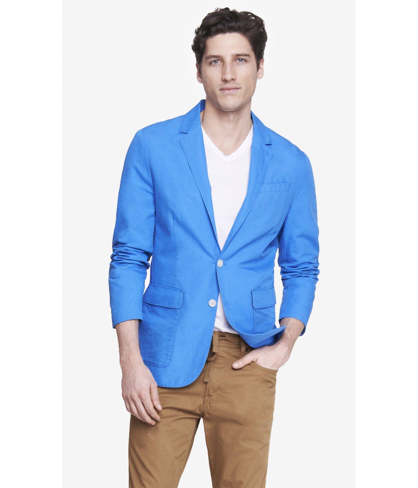 Express Blue Cotton-Linen Blazer in Blue for Men | Lyst