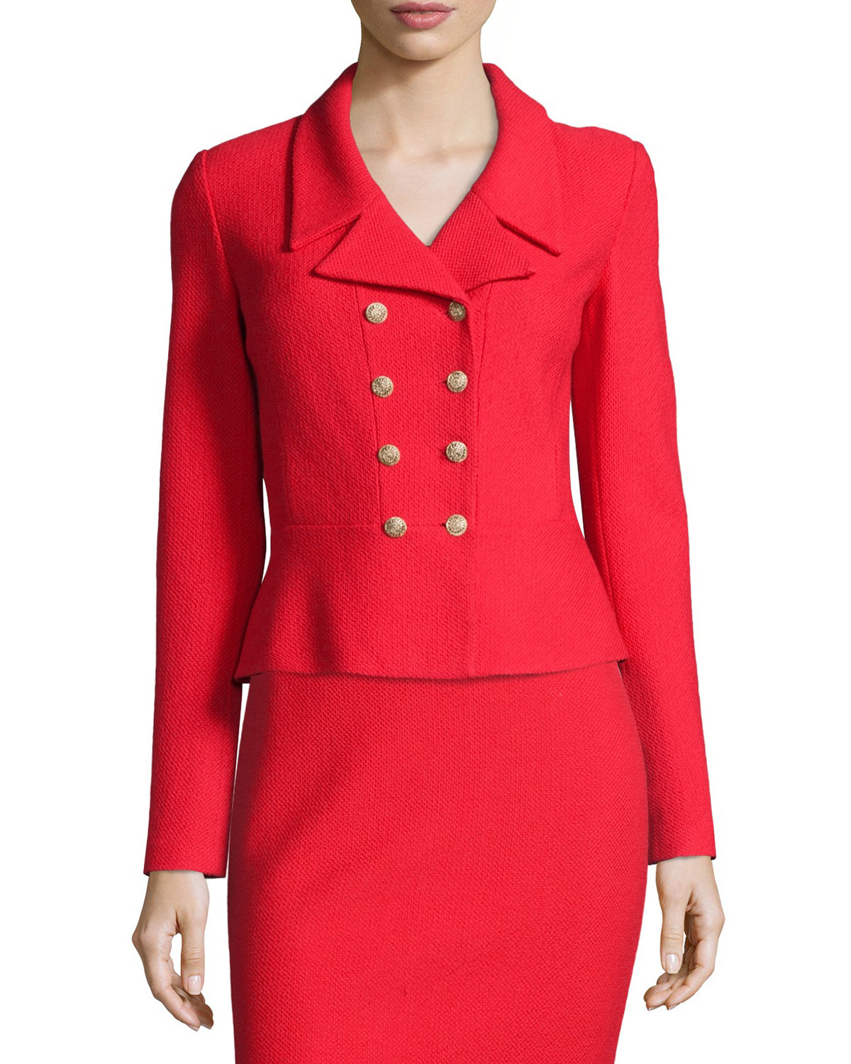 St John Nouveau Boucl 233 Spencer Jacket In Red Lyst