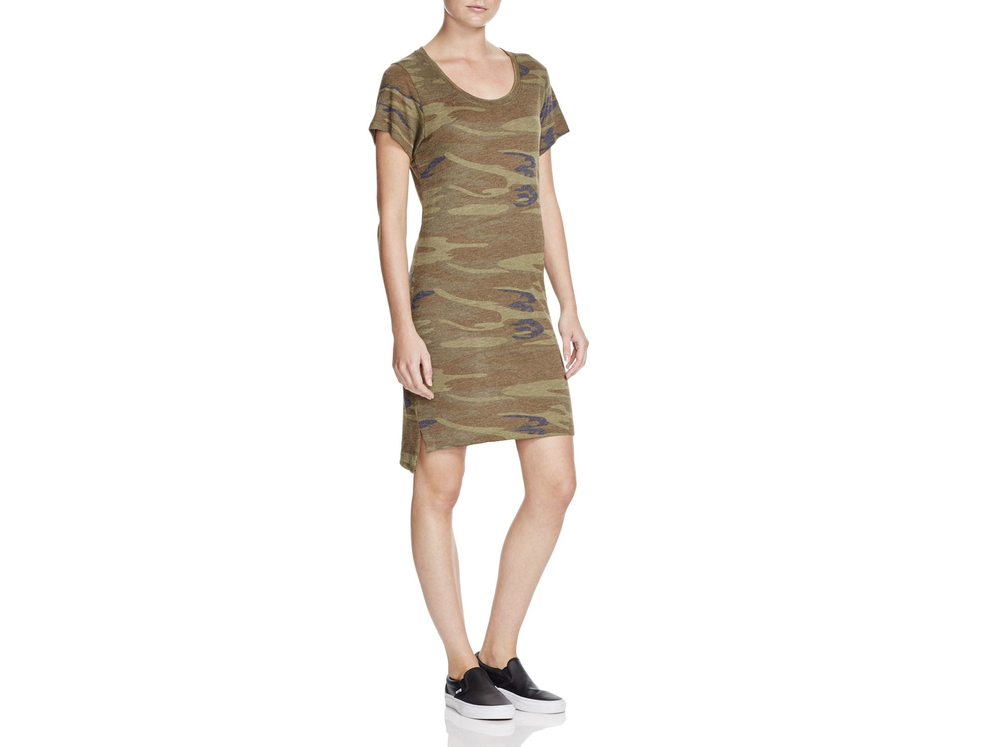 Alternative apparel camouflage t shirt dress in green lyst for Green camo shirt outfit