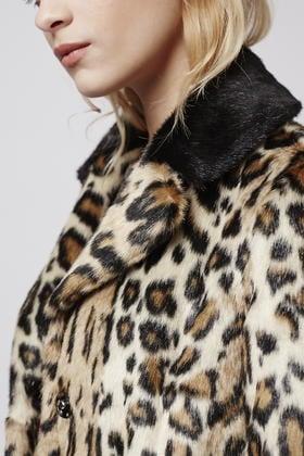 Topshop Petite Leopard Swing Faux Fur Coat in Brown   Lyst