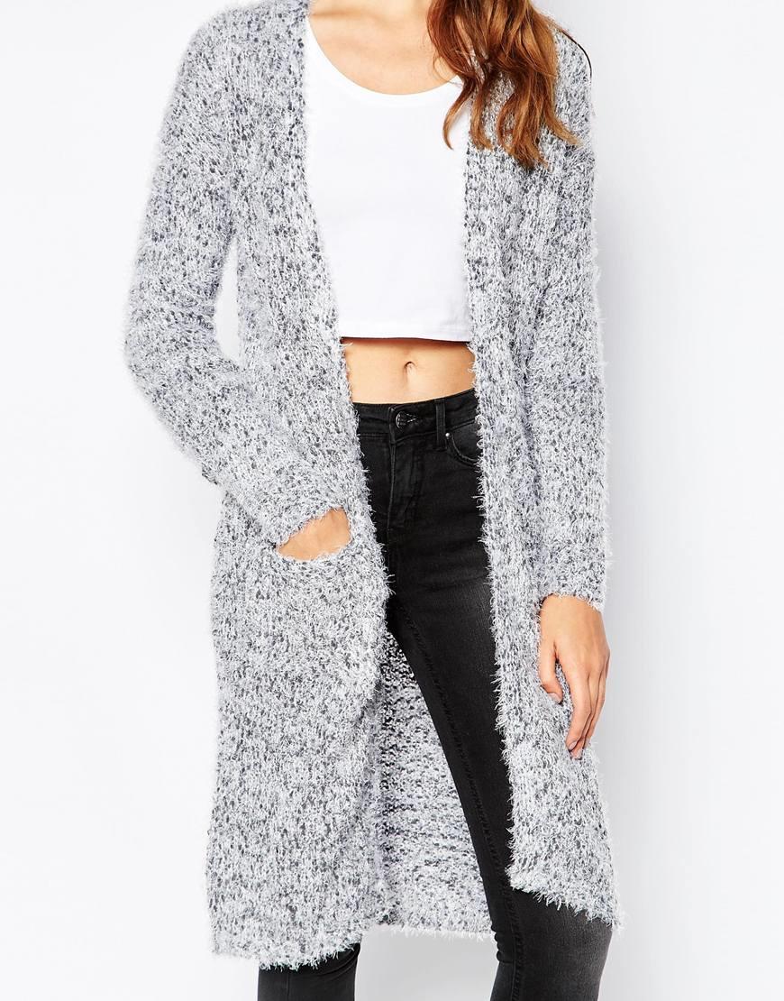 Blend she Fuzzy Longline Cardigan in Gray | Lyst
