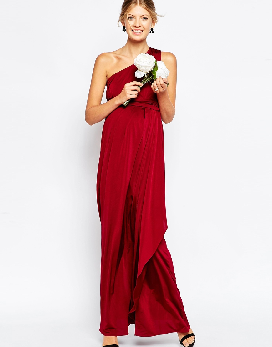 Asos wedding slinky maxi dress with one shoulder in purple lyst gallery ombrellifo Choice Image