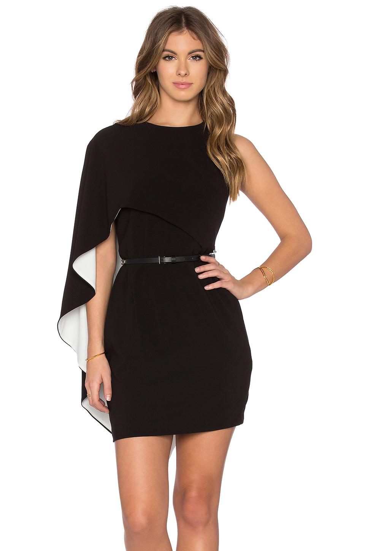 Lyst Halston Asymmetrical Sleeve Mini Dress In Black