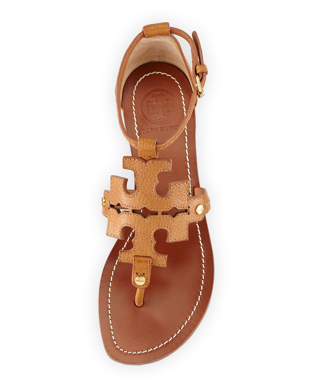 0069302fc Lyst - Tory Burch Phoebe Logo Flat Thong Sandal Tan in Brown